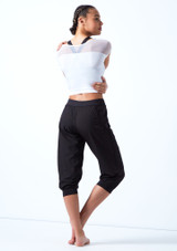 Bloch Perforated Cropped Pants Black back. [Black]