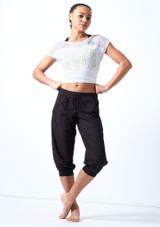 Bloch Perforated Cropped Pants Black front. [Black]