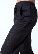 Bloch Perforated Cropped Pants Black front #2. [Black]