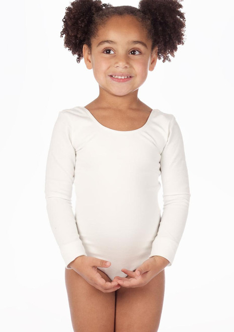 Bloch Long Sleeve Cotton Leotard White. [White]