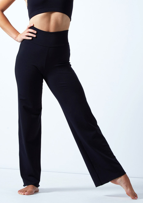 Intermezzo Wide Leg High Waisted Pant Black Front-1T [Black]