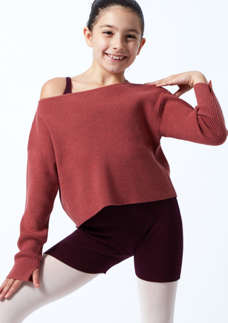 Move Dance Teen Blush Ribbed Knit Cropped Dance Jumper Raspberry Front-1T [Raspberry]