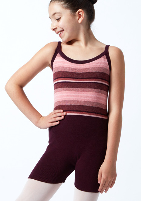 Move Dance Teen Mimi Striped Knit Dance Warm Up Suit Fig [[88]] Front-1T [Fig [[88]]]