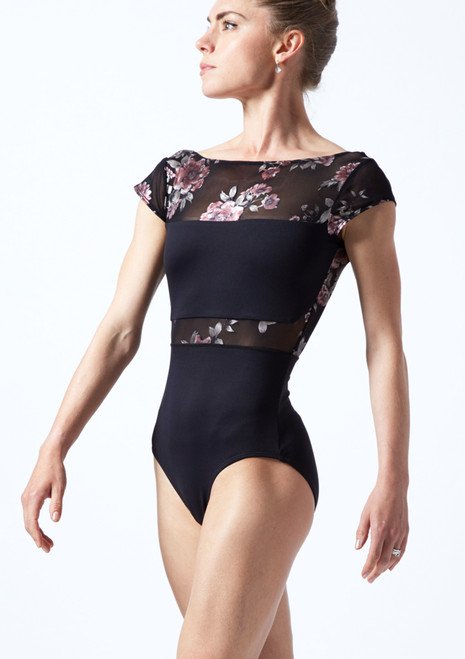 Move Dance Dynamic Floral Cap Sleeve Leotard Black Front-1T [Black]