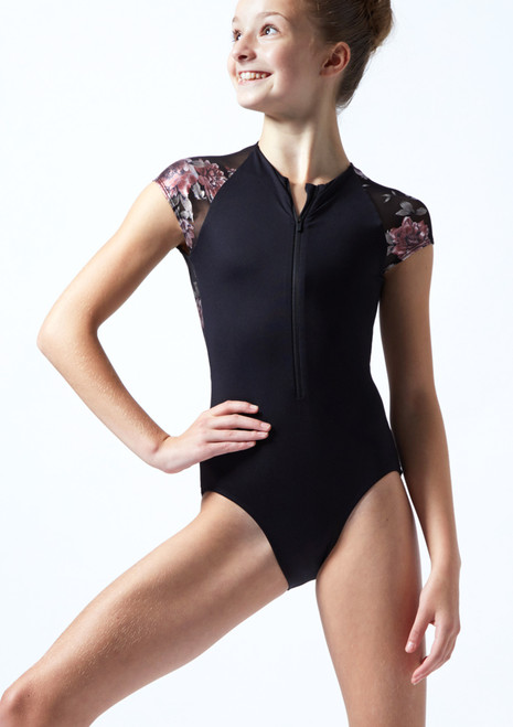 Move Dance Teen Isadora Floral Zip Up Leotard Black Front-1T [Black]