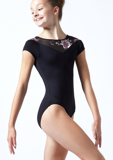 Move Dance Teen Margot Floral Sweetheart Leotard Black Front-1T [Black]