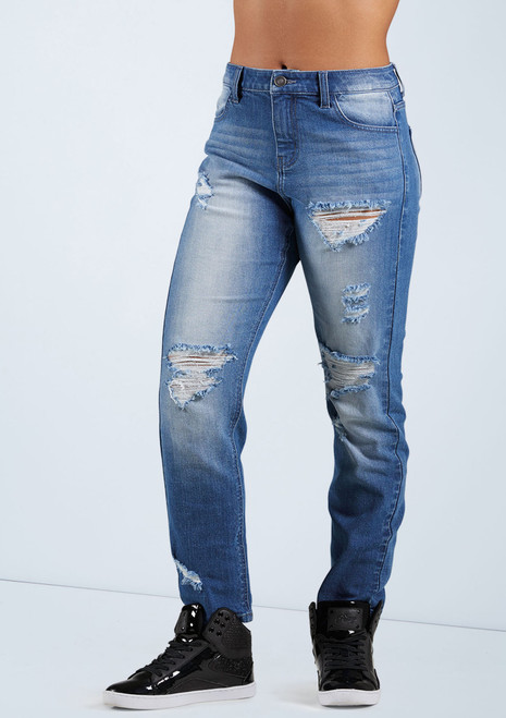Slashed Boyfriend Jeans [Blue]T