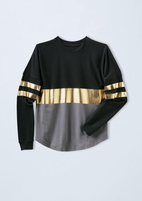 Oversized Metallic Striped Top [Gold]T