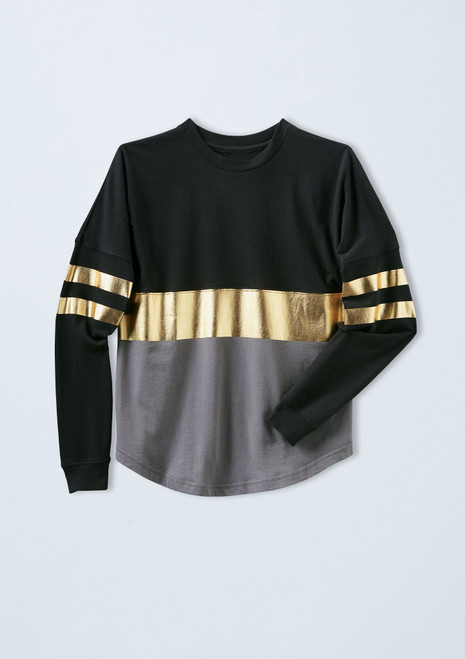 Oversized Metallic Striped Top [Gold]T