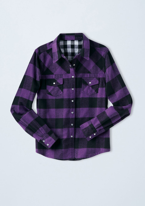 Buffalo Plaid Flannel Shirt [Purple]T