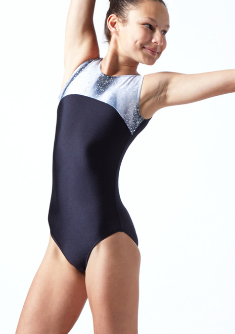 Tappers & Pointers Strobe Sleeveless Gymnastics Leotard Black Front-1T [Black]