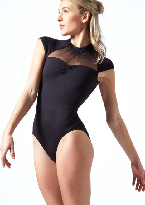 Mirella High Neck Mesh Leotard  Black Front-1T [Black]