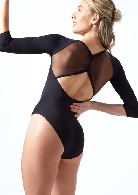 Mirella 3/4 Sleeve Mesh Leotard Black Back-1T [Black]