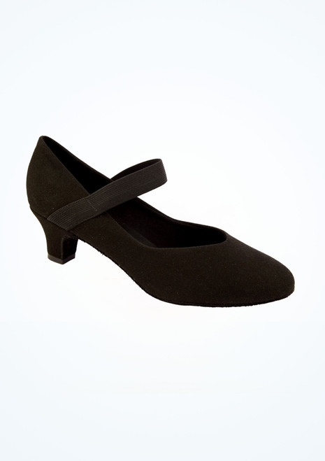 So Danca Elasticated Practice Ballroom Shoe Black front. [Black]
