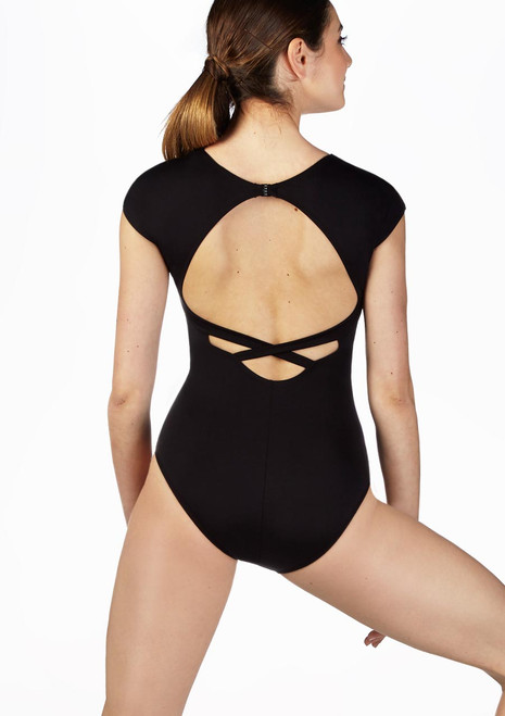 So Danca Cap Sleeve Leotard Black back. [Black]
