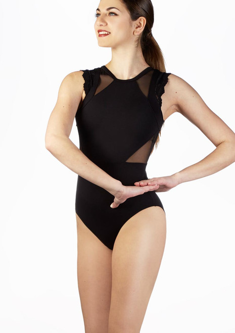 So Danca Mesh Panel Lace Tank Leotard Black front. [Black]