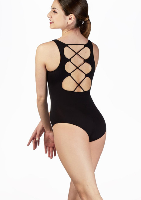 So Danca Lace Tie Tank Leotard Black back. [Black]