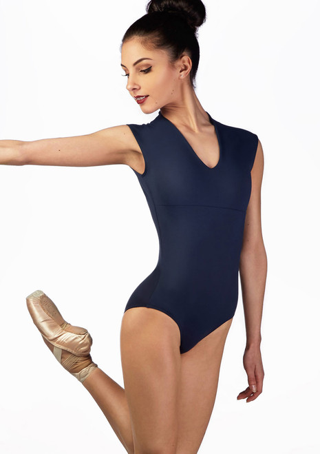 Ballet Rosa Sport V Neck Leotard Blue back. [Blue]