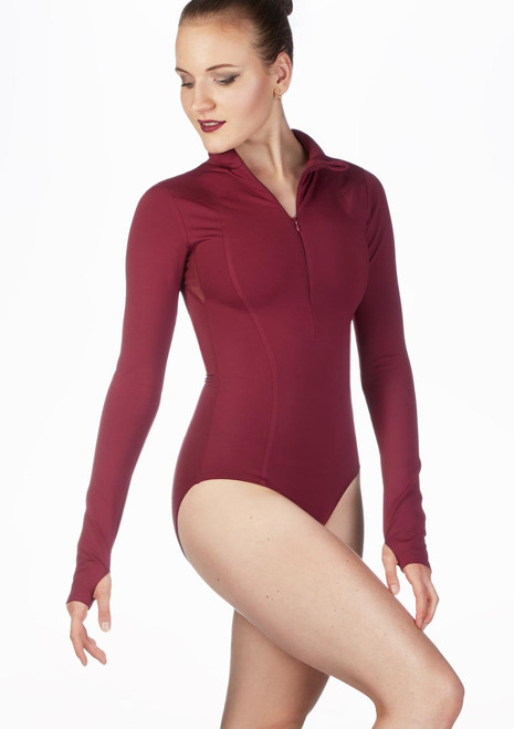 Capezio Encryption Long Sleeve Leotard Red front. [Red]