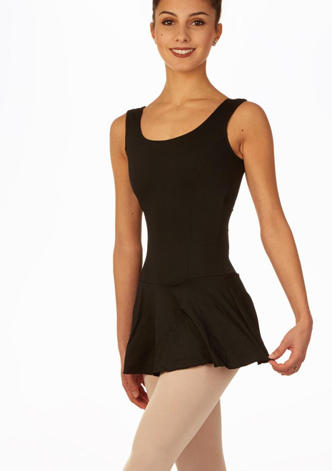 So Danca Tank Sleeve Skirted Leotard Black front. [Black]