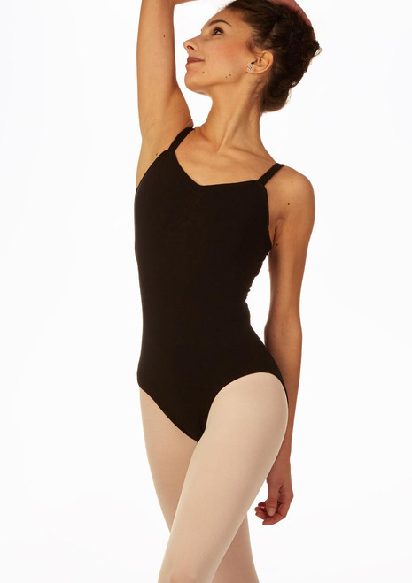 So Danca Open Back Camisole Leotard Black front. [Black]