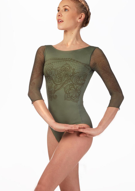 Ballet Rosa Printed Open Back Leotard Green front. [Green]