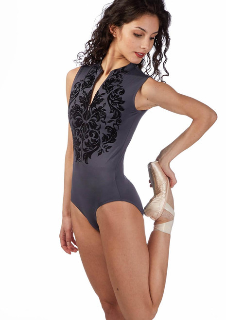 Ballet Rosa Flock Zip-up Leotard Grey front. [Grey]