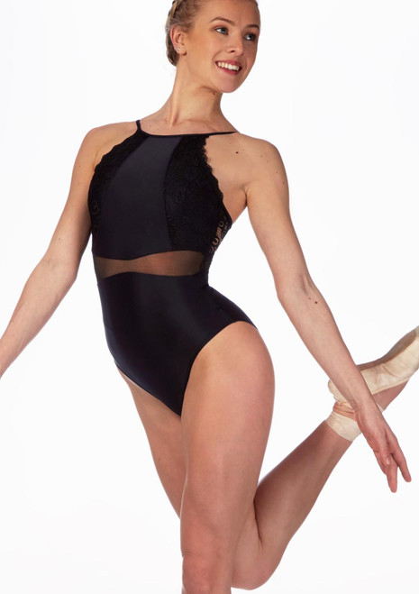 So Danca Scalloped Lace Camisole Leotard Black front. [Black]