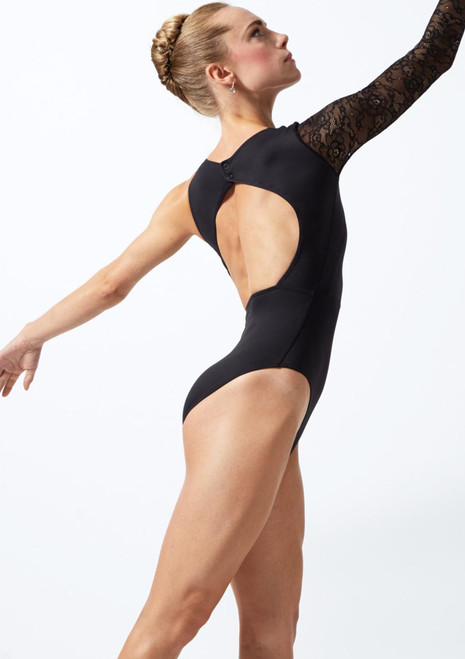 Move Dance Ailsa Asymmetric Lace Leotard Black back. [Black]
