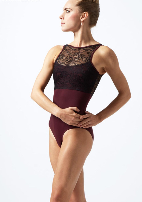 Move Dance Fara High Neck Lace Leotard Black back. [Black]