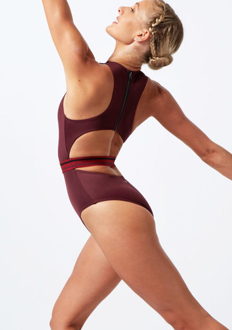 Move Dance Wonder Zip Back Leotard Purple back. [Purple]