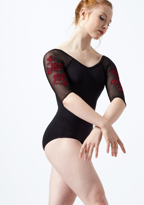 Ballet Rosa Floral Embroidery 3/4 Sleeve Mesh Leotard Black-Red front. [Black-Red]