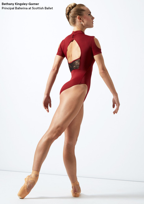 Move Dance Jura Cold Shoulder Lace Leotard Red back. [Red]