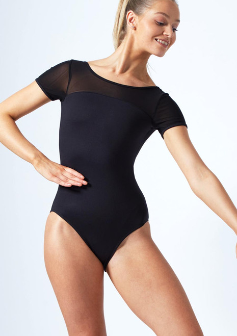 Move Dance Eve Scoop Back Mesh Leotard Black front. [Black]