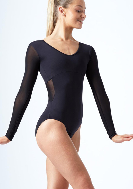 Move Dance Zara Long Sleeve Mesh Leotard Black front. [Black]