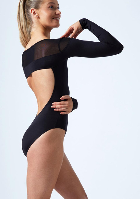 Move Dance Gia Open Back Mesh Leotard Black back. [Black]
