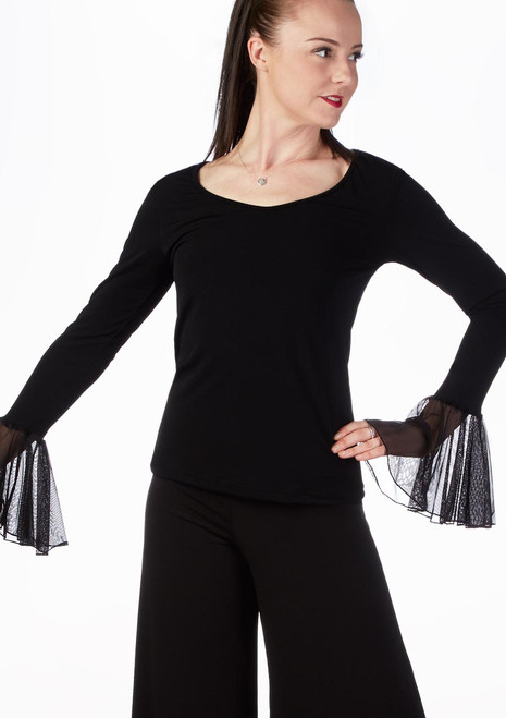So Danca Bell Sleeve Ballroom Top Black front. [Black]