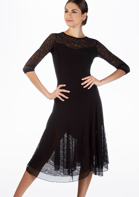 So Danca Floral Lace Partner Dress Black. [Black]