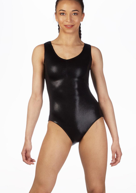 Alegra Metallic Senna Leotard Black colour swatch. [Black]