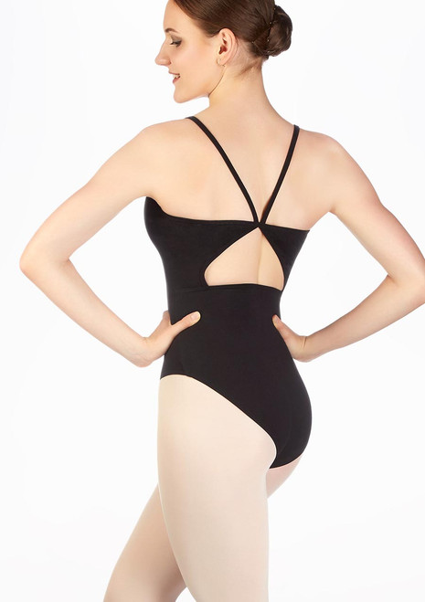 Move Piper Open Back Camisole Leotard Black back. [Black]