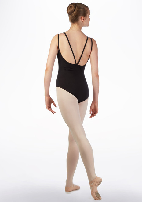 Move Melinda Teen Strappy Leotard Black back. [Black]