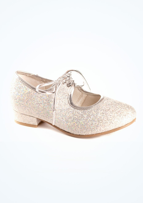 Tappers & Pointers Low Heel Tap Shoe Hologram Silver. [Silver]