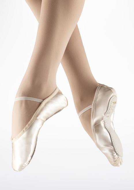 Tappers & Pointers Full Sole Satin Ballet Shoe Ivory White. [White]