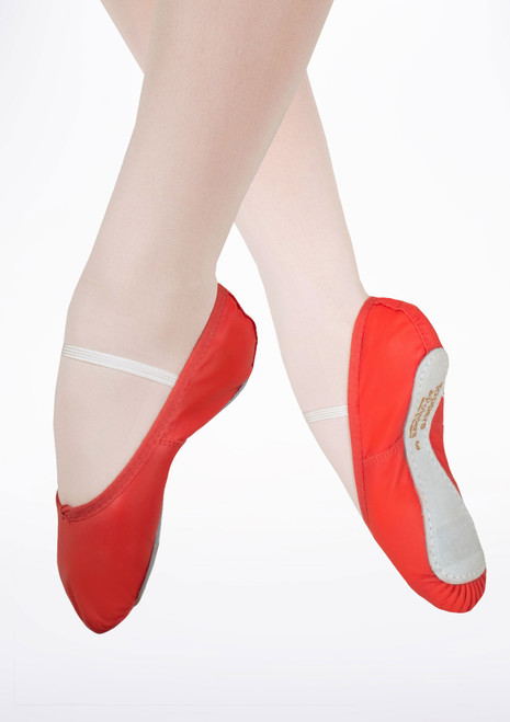 Tappers & Pointers Full Sole Leather Ballet Shoe Red. [Red]