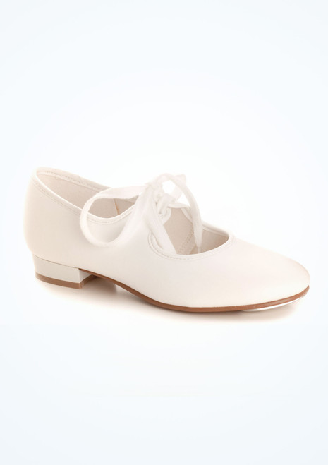 Tappers & Pointers Low Heel Tap Shoes White. [White]