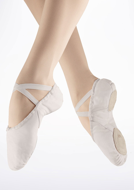 Freed Men's Canvas Split Sole Ballet Shoe White. [White]