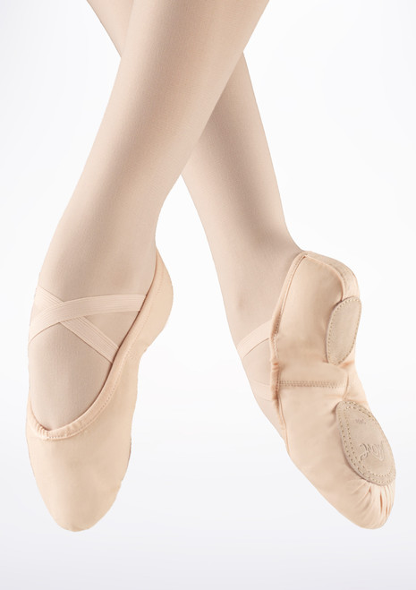 Move Split Sole Canvas Ballet Shoe Pink. [Pink]