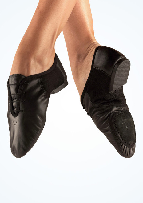 Move Leather Split Sole Jazz Shoe Black. [Black]
