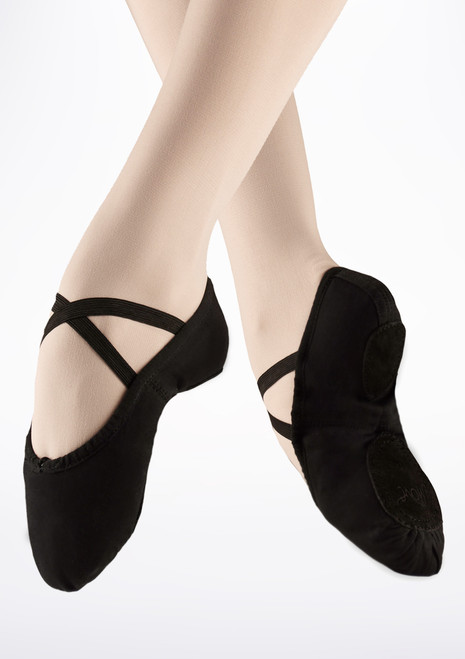 Move Split Sole Canvas Ballet Shoe Black. [Black]