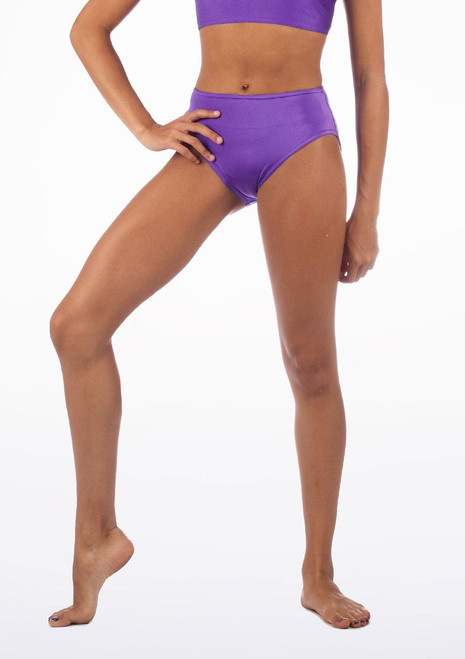 Alegra Shiny Dance Briefs Purple front. [Purple]